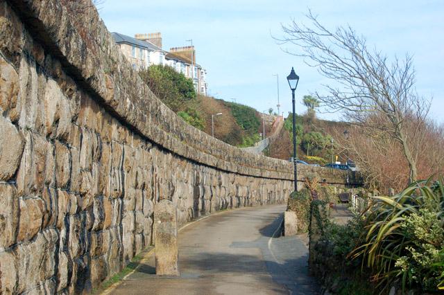Railway retaining wall above Porthminster beach, St Ives