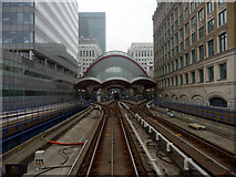 TQ3780 : Canary Wharf Station on the Docklands Light Railway by Christine Matthews