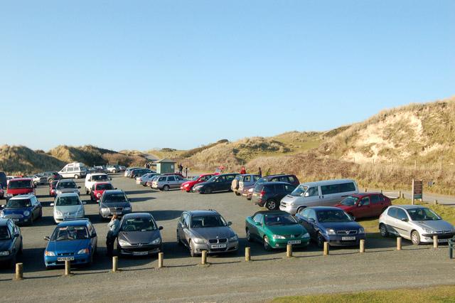 Looking like summer: Godrevy beach car park in February