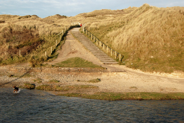 Steps to the carpark above the Red River, Godrevy