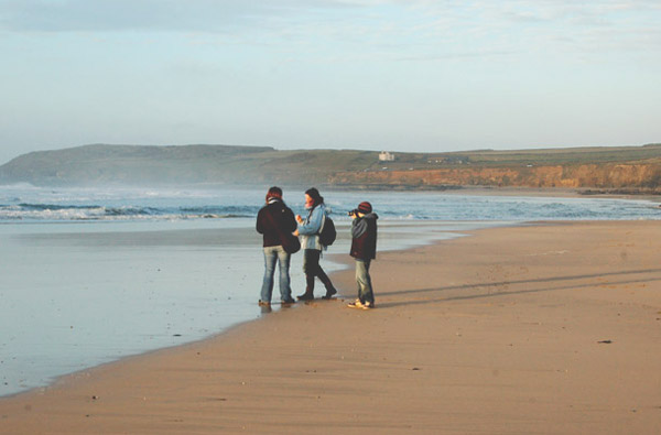 Group on Godrevy beach at low water