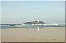 SW5742 : Godrevy lighthouse from the beach at low water (1) by Andy F