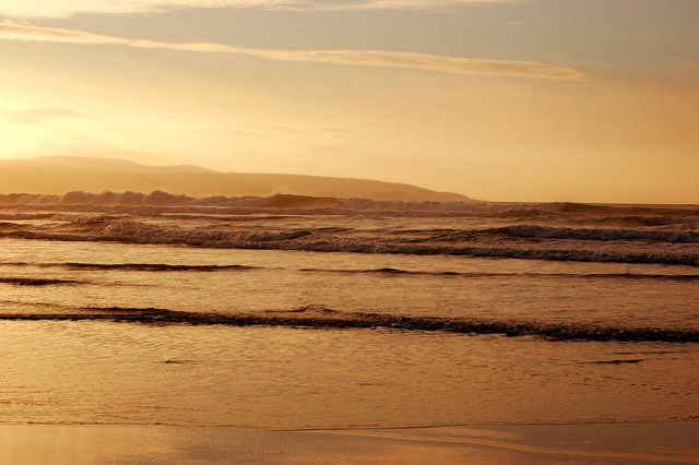 Sunset seascape on Gwithian beach