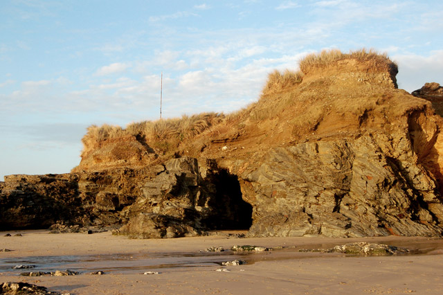 Low evening light on the rocks, Gwithian beach