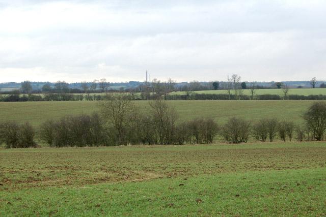 Farmland south of Flecknoe with Helidon Hill on the skyline