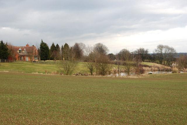 New ornamental pond south of Flecknoe