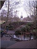 SJ3787 : Sefton Park - steps to the Rathbone statue by John S Turner