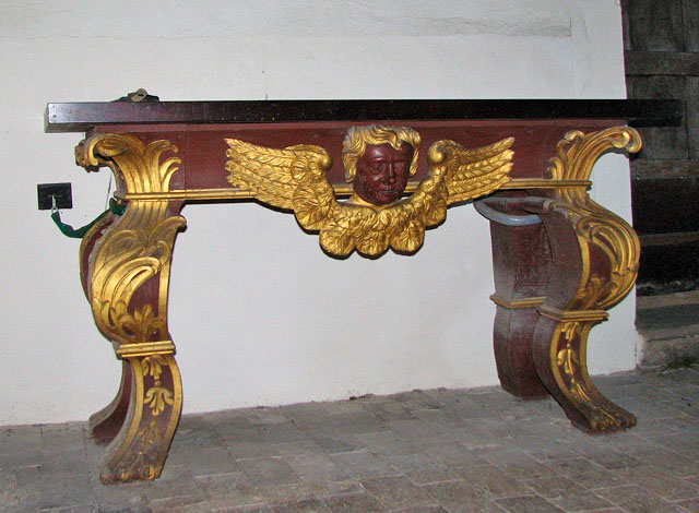 The church of All Saints - table by entrance
