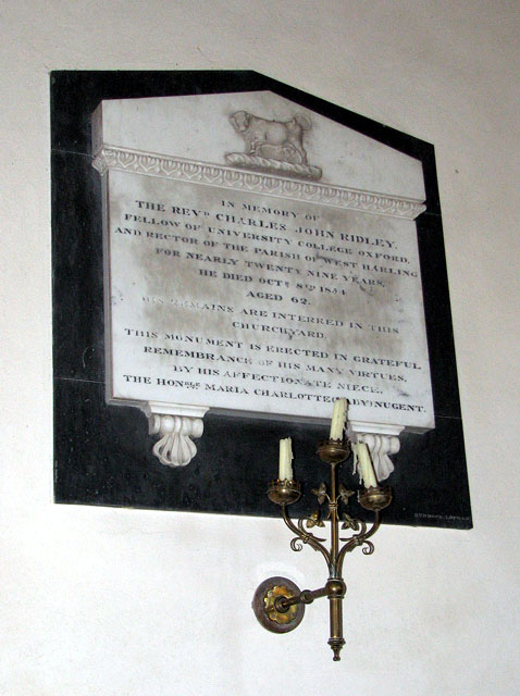 The church of All Saints - C19 memorial