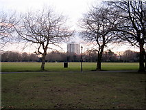 SJ3787 : Sefton Park - view across the park towards Mere Bank flats by John S Turner