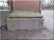 SJ3787 : Sefton Park - perimeter wall bench mark #9 by John S Turner