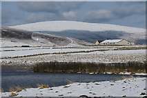 HP6312 : View towards Sothers Field in the snow from Haroldswick beach by Mike Pennington