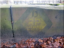 SJ3787 : Sefton Park - wartime sign (?) on the perimeter wall by John S Turner
