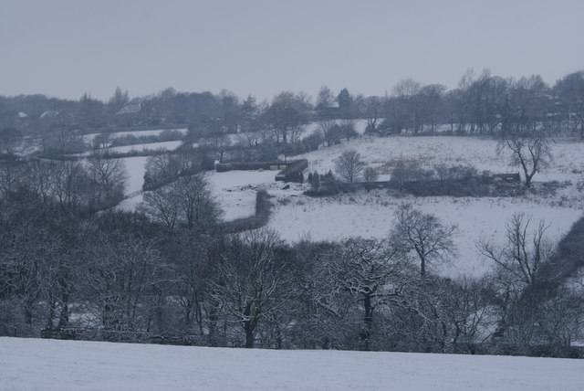 Snowy Fields below Upper Hopton