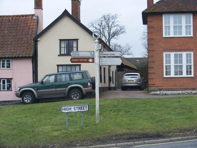 Old Road Sign B1077 High Street, Debenham