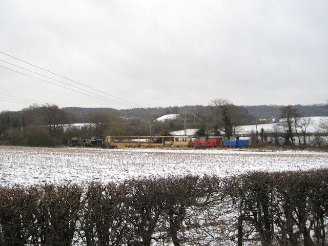 The stub of the old railway line near Porth Y Waen