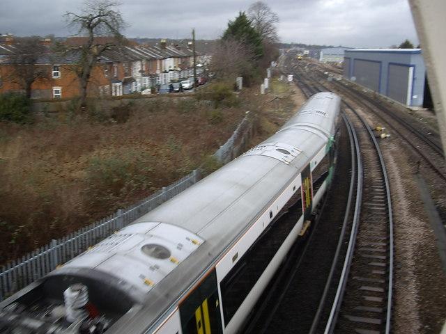 A train shooting Northam Road (A3024) bridge