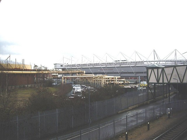 View of Northam gasworks and St Mary's Stadium