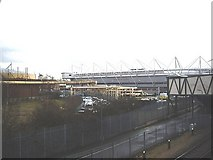SU4212 : View of Northam gasworks and St Mary's Stadium by Stanley Howe