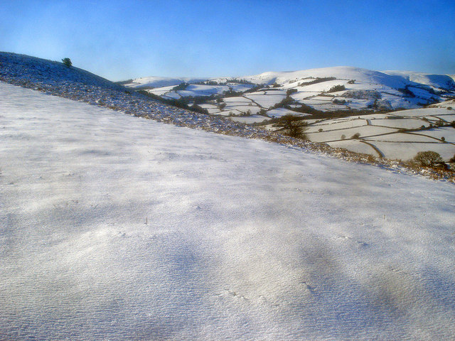 Snow-covered Hergest Ridge