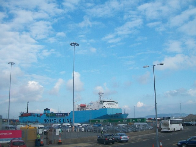 The Norfolkline Dublin-Heysham ro-ro ferry at Dublin Port