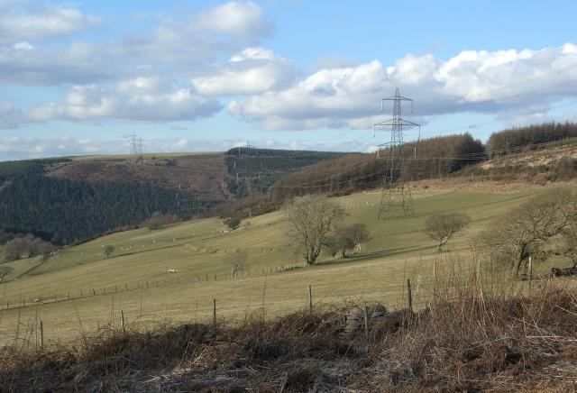 Pylons on the western slopes of Mynydd Penhydd