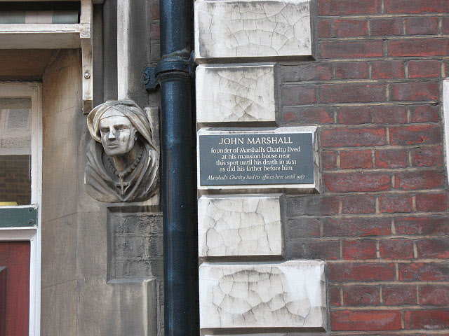 Photo of John Marshall and Marshall's Charity black plaque