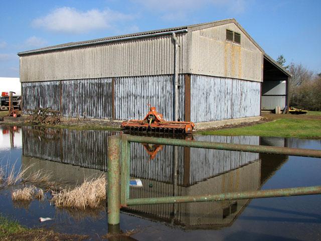 Flooded yard at Wash Farm