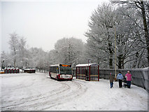 SD9926 : Bus stop and turning area outside Hebden Bridge railway station by Phil Champion