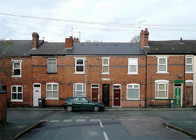 Terraced housing in Lime Street, Wolverhampton