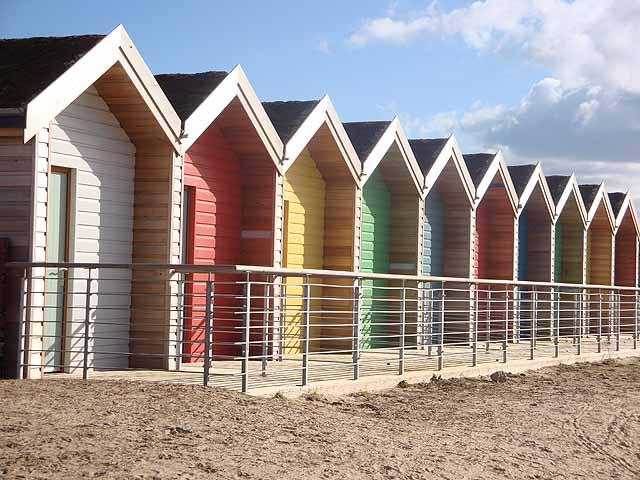 Colourful beach huts at South Beach, Blyth
