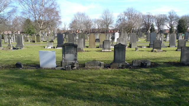 Headstones in Gorton Cemetery
