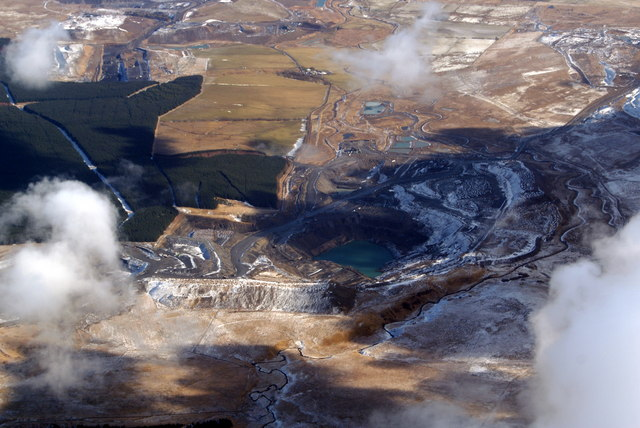Waterhead opencast mine from the air