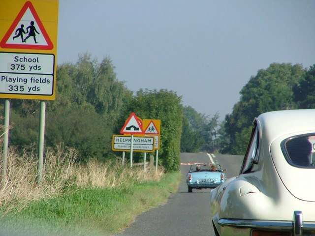 Classic Car Rally arriving at Helpringham
