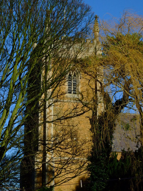 St James's Church Woolsthorpe By Belvoir taken from the garden of Reading Room Cottage
