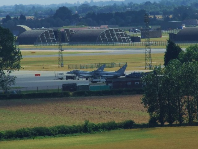 Long Lens View of RAF Coningsby taken from the top of Tattershall Castle