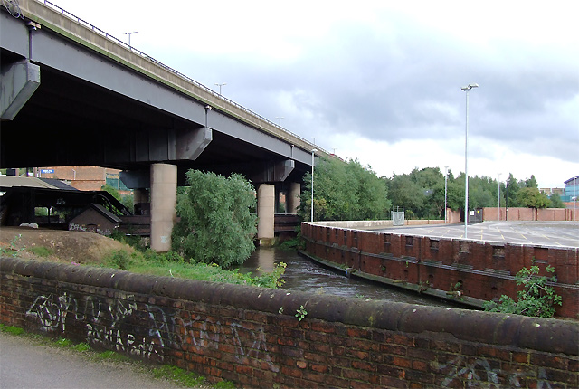 Elevated motorway and River, near Gravelly Hill, Birmingham