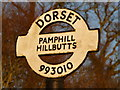 ST9901 : Pamphill: Hillbutts finger-post detail by Chris Downer