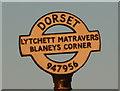 SY9495 : Lytchett Matravers: detail of Blaney's Corner finger-post by Chris Downer