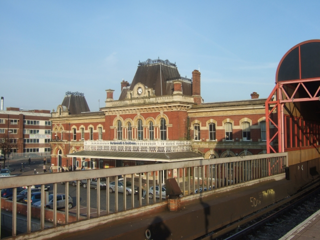 Portsmouth and Southsea station seen from platform 1