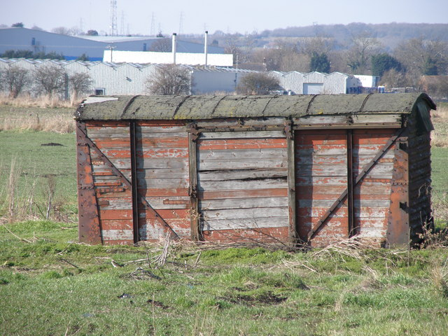 Railway wagon beside the Bourne to Spalding road