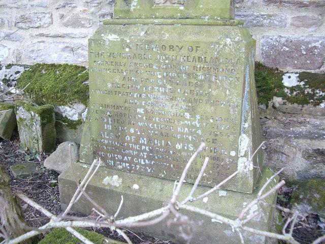Inscribed headstone of the Venerable John Headlam, MA