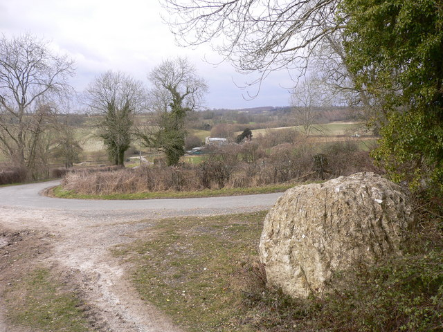 Chalk ball by footpath near Stapleash Farm