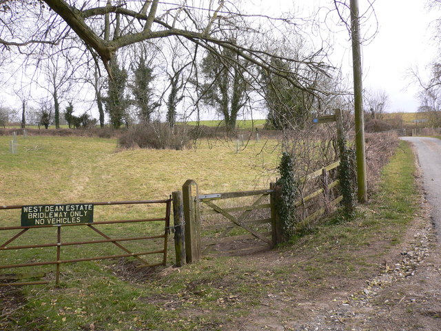 Bridleway leaves lane near Stapleash Farm