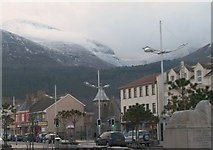 J3730 : The Central Promenade, Newcastle with a wintry Slieve Donard in the background by Eric Jones