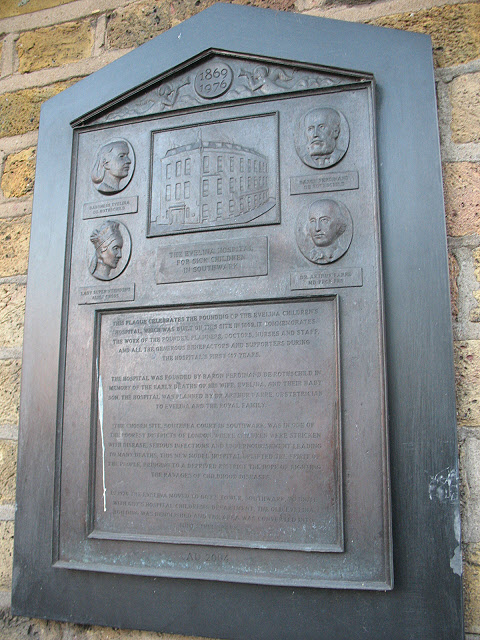 Plaque on the site of the Evelina Hospital