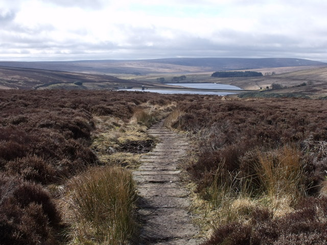 The Pennine Way looking towards Walshaw Dean Reservoirs