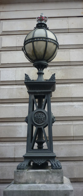 Cast iron lamp with crowned globe lantern, Bow Street Magistrates Court, London WC1
