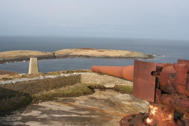The six inch gun and Triangulation pt on Score hill   with the Inner and Outer Score in the distance