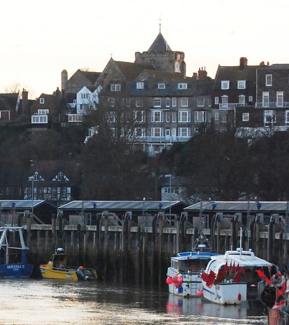 Rye town rises behind the Fish Quay